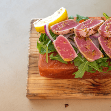 Tuna Crudo on Himalayan Salt Block