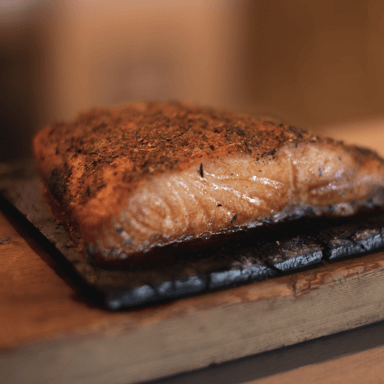 Closeup of oven seared salmon